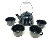 Mexican enamel coffe cup set frida kettle and mug set mexican fiesta decoration Frida Kalho mug 4 piece set black cup white cup