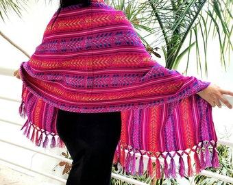 Mexican Handmade Rebozo Mexican Rebozo Doula Rebozo 90 x 24 Pink Mexican Colorful Rebozo Shawl Mexican Rebozo Shawl