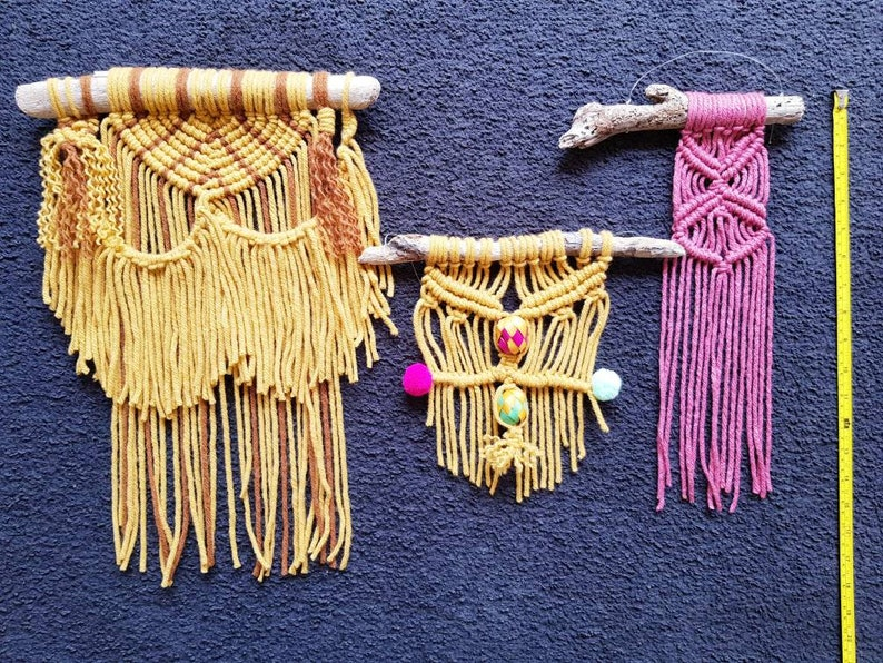 Handwoven mexican small wool wall macrame palm decor  weaving ornament home decor in various colours mexican fabric decor macrame decor