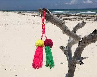 Handmade colourful Mexican double  pompoms with breided top for bags and home decor / purse charms from Mexico / handmade car decoration