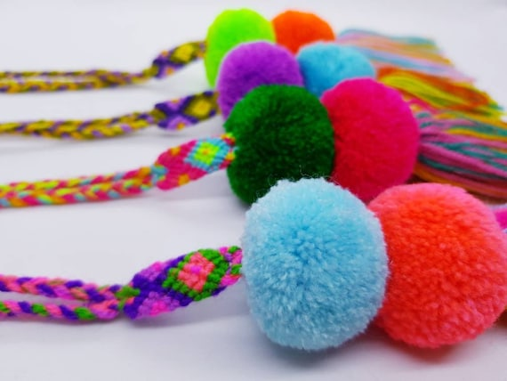 Handmade Colourful Mexican Pompom For Bags And Home Decor Pom Pom Charms From Mexico Handmade Home Decoration Curtain Tie