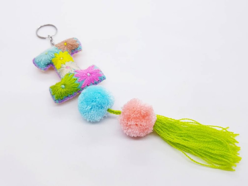 Handmade keychain initials  letter keychain with pompom and tassel  Embroidered alphabet  Christmas initial decor summer camp favors