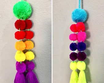 Handmade colorful large size Mexican pompom for bags and home decor / purse charms from Mexico / handmade car decoration/ curtain tie