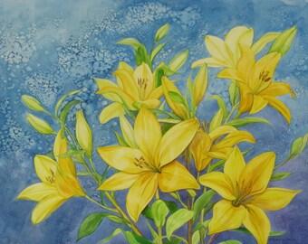 Star Gazer Lilies, printed card