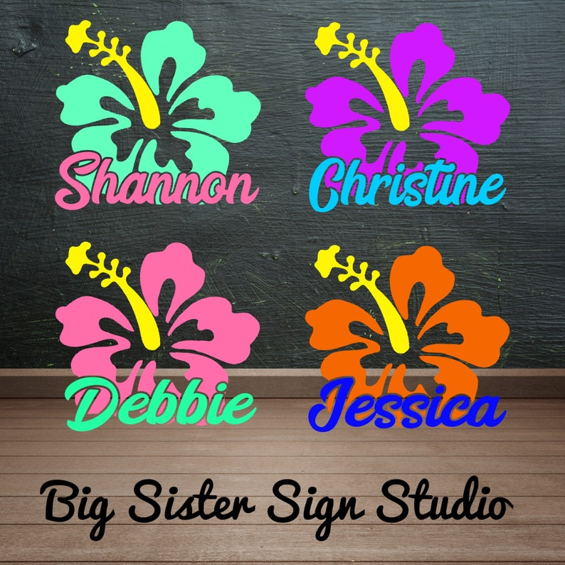 Hibiscus Decal Flower Decal Flower Name Decal Yeti Cup Etsy