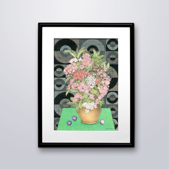 Still Life Modern Vase Of Flowers Fine Art Print Color Etsy