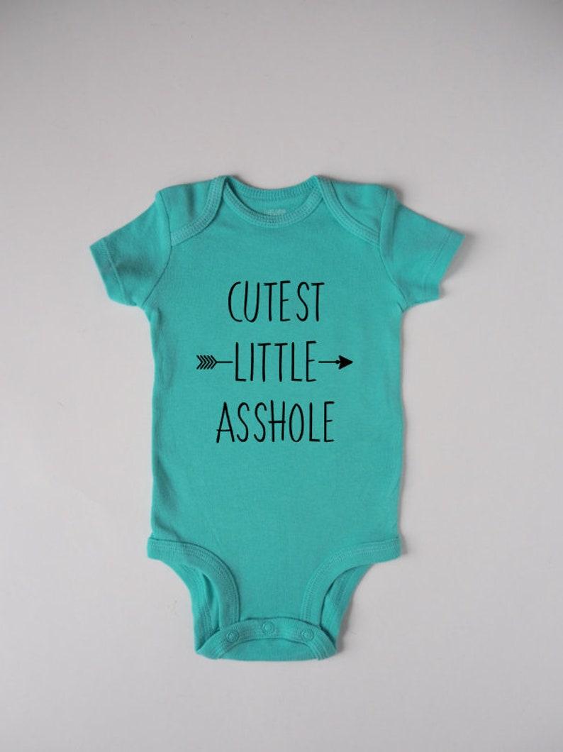 Baby One Piece Funny One Piece Baby Bodysuit Baby Shower Gift Cutest Little Asshole One Piece Baby Gift Newborn Bodysuit