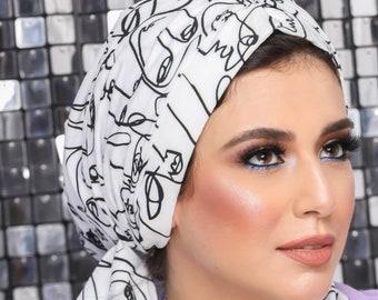 Multi-way Crepe Turban Headband Black and White Turban