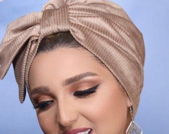 Half Bow Striped Chamois Women Turban Headband Chemohat