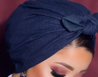 blue denim light jean fabric head wrap with knotted bow
