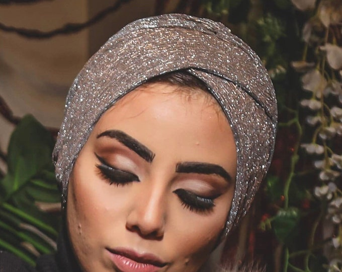 Featured listing image: Pleated Crisscrossed Design Shiny Soirée Women Turban