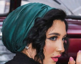 Wrinkled design Italian Tulle women turban head wrap