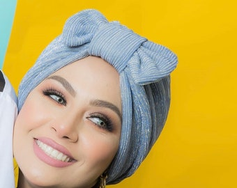 Removable bow pleated tulle women turban