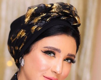 Two pieces Crepe golden feather printed tulle women turban