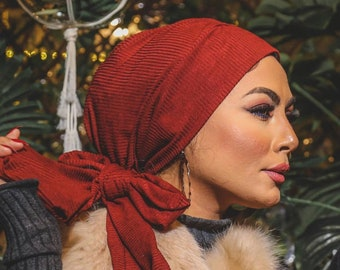 Stripped Soft Wool Multiway Women Turban