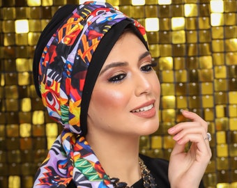 Two Pieces Turkish Crepe Women Turban Headband
