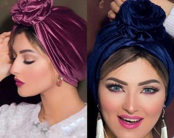 Flower design velvet turban women turban chemohat