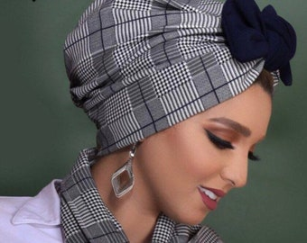 Plaid knotted bow women turban with scarf