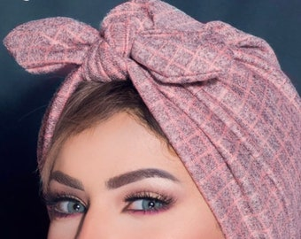 Soft wool knotted bow turban.