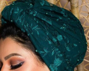 Embroidered Tulle Turban Occasion Turban