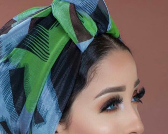 Crown design one piece Lycra Chiffon colorful turban with crepe lining .