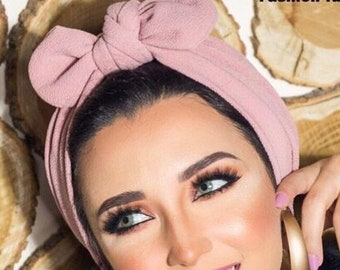 Crepe knotted turban