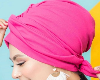 Two piece crepe turban headband with a remo bow