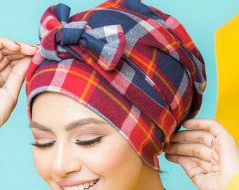 Blue Red Italian Cotton Multi-way Women Turban Headband