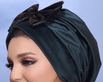 Chamois wrinkled design turban with leather bow women hat headband