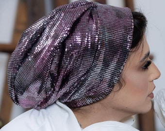 Embroidered sequins occasion women turban hat