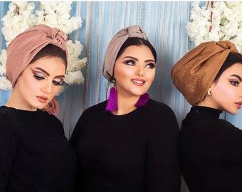 Elephant skin knotted flower design women turban faux leather winter turban chamois
