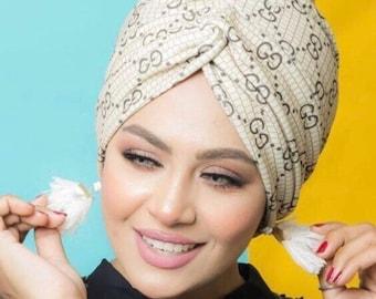 Gucci pattern Crepe Cross design women turban headband with matching face mask