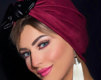 Chamois turban with leather knotted bow women turban