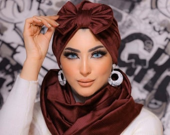 Stripped chamois women turban with bow