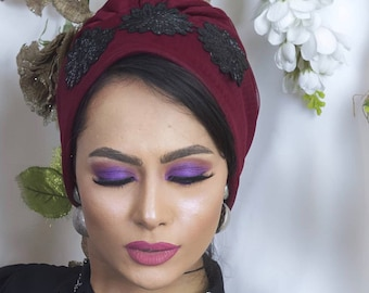 Tulle lined embroidered turban