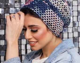 Mesh turban with crepe lining women turban headband
