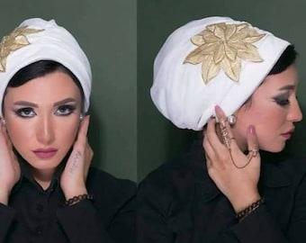 Tulle Turban with Guipure Flower Women Turban