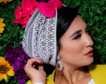 Turkish Lycra Black And White Turban with knotted Removable Bow