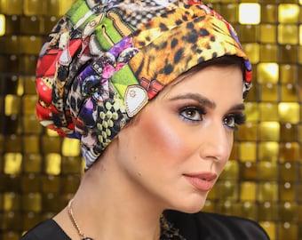 Satin Lycra Multicolored Women Turban Ready To wear Turban