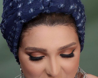 Crown Design Boyfriend Denim Women Turban Everyday Turban Casual Turban