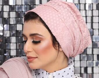 Lace Turban Women Turban Headband Baby Pink Turban Everyday Turban