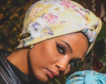 Artichoke Design Flowers Printed Lycra Women Turban