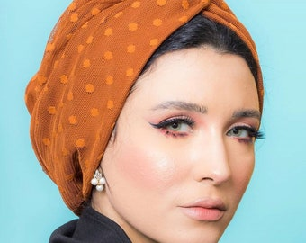 Crisscrossed Dotted Tulle Women Turban Headband