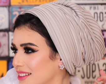 Pleated Italian Matte Satin women Turban