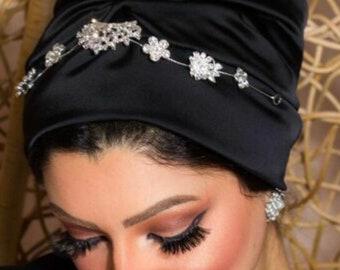 Satin occasion turban with accessories bridal turban