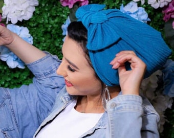 Knotted bow braided lycra Women turban headband