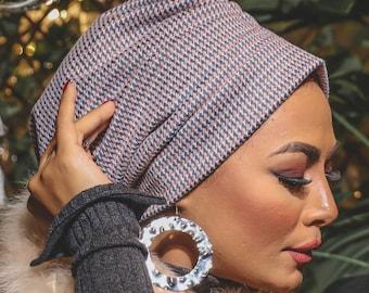 Wrinkled Design Italian Soft Wool Women Turban Headband Turban