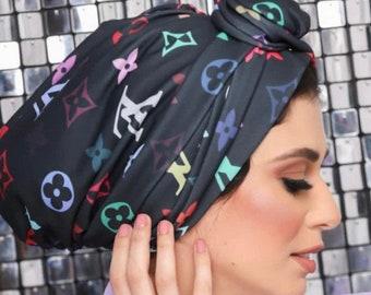 Multi-way crepe black multicolored soft Crepe women turban