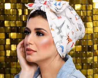 knotted Bow Eiffel  Tower  pattern Turkish Crepe Headband