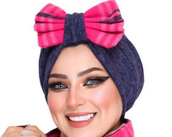 Knitted wool bow design women turban headband winter turban
